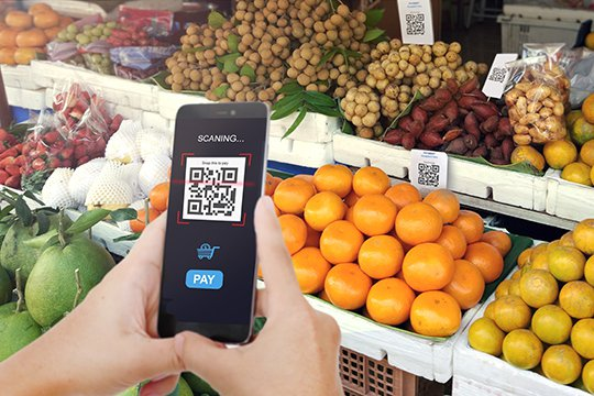 Customer using a smartphone to scan a QR code from in-store signage to buy grapefruit in the produce section of a grocery store